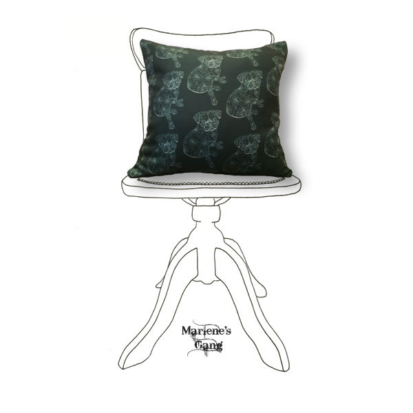 Line Freud Black Cushion